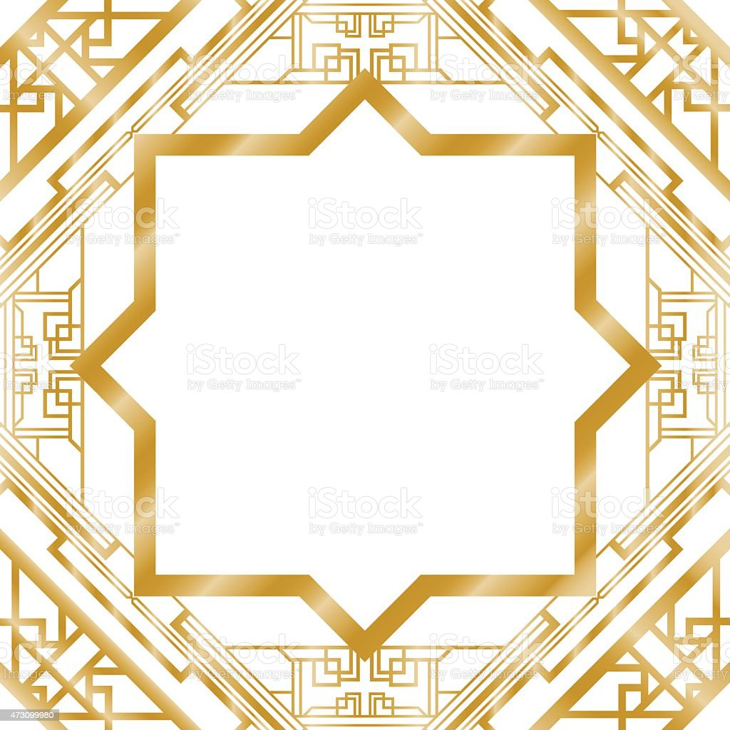 gold art deco border frame pattern stock vector art more images of rh istockphoto com art deco patterns vector free art nouveau patterns vector free