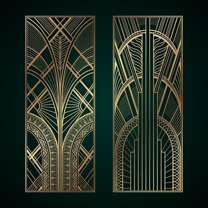 Gold art deco panels on dark green background