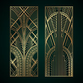 Gold luxury art deco geometric panels on dark green background