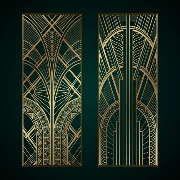 ilustrações, clipart, desenhos animados e ícones de painéis de ouro art déco em fundo verde escuro - ilustrações de arquitetura