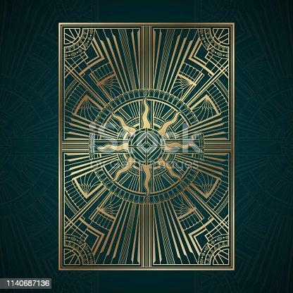 Gold art deco panels on dark turquoise background