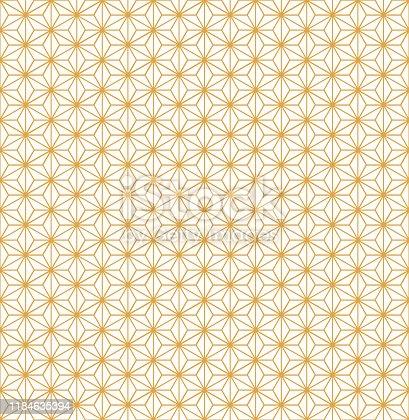 istock Gold Asanoha Japanese Hemp Leaves Decorative Pattern On White Background 1184635394