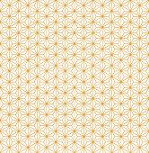 Gold asanoha Japanese hemp leaves decorative pattern on a white background.