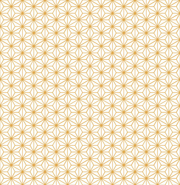 Gold Asanoha Japanese Hemp Leaves Decorative Pattern On White Background Gold asanoha Japanese hemp leaves decorative pattern on a white background. japanese culture stock illustrations