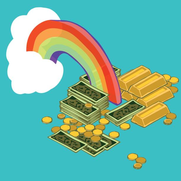Gold at the End of the Rainbow vector art illustration