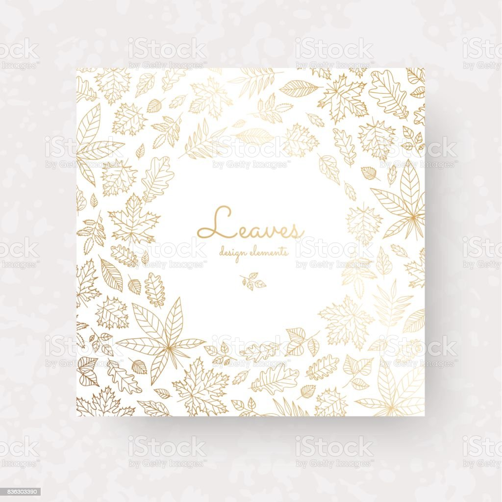 Gold autmun leaves. Ornate decor for invitations, wedding greeting cards, certificate, labels. vector art illustration