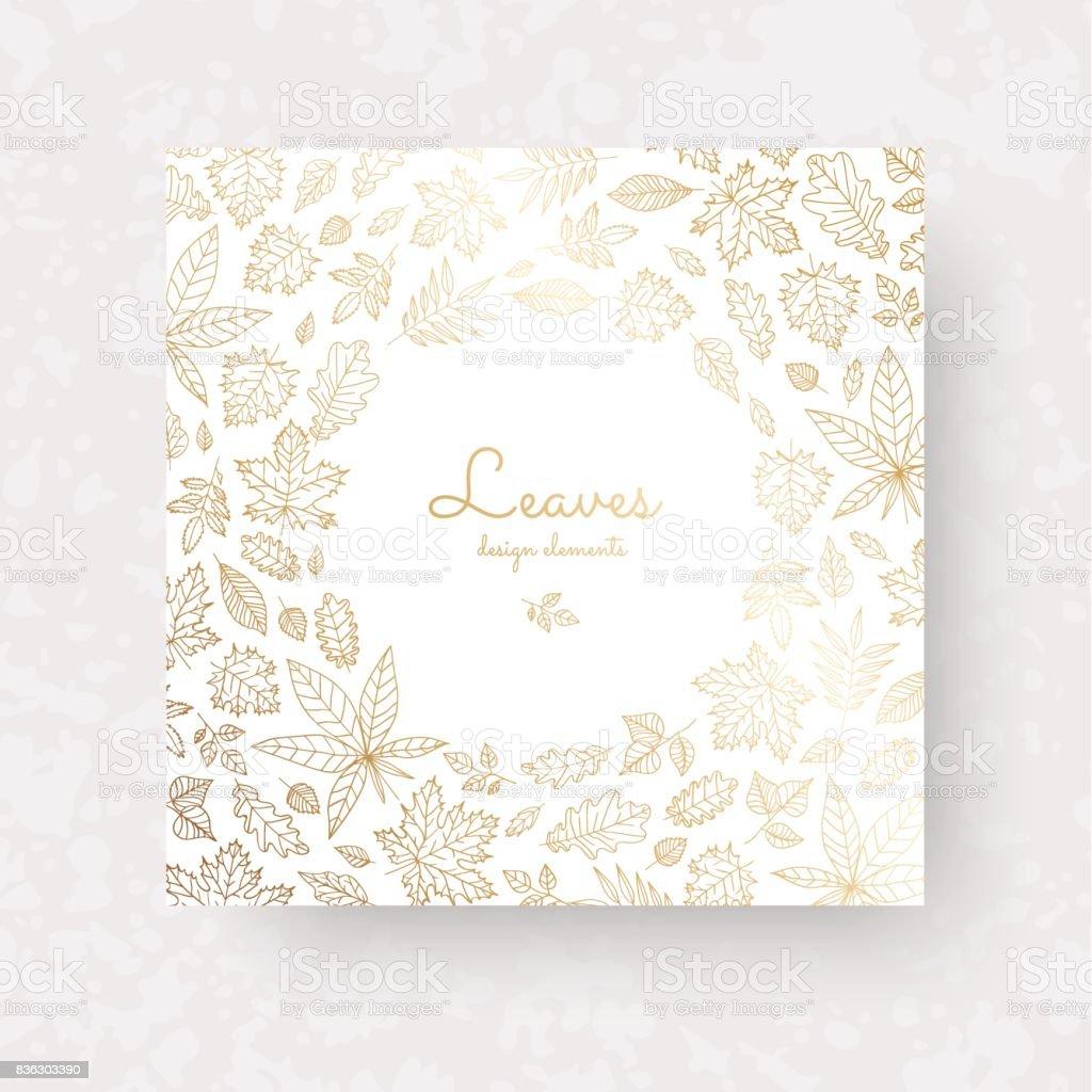 Gold Autmun verlässt. Kunstvolle Dekoration für Hochzeit Grußkarten, Einladungen, Etiketten, Zertifikat. – Vektorgrafik