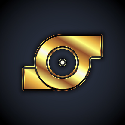 Gold Automotive turbocharger icon isolated on black background. Vehicle performance turbo. Turbo compressor induction. Vector