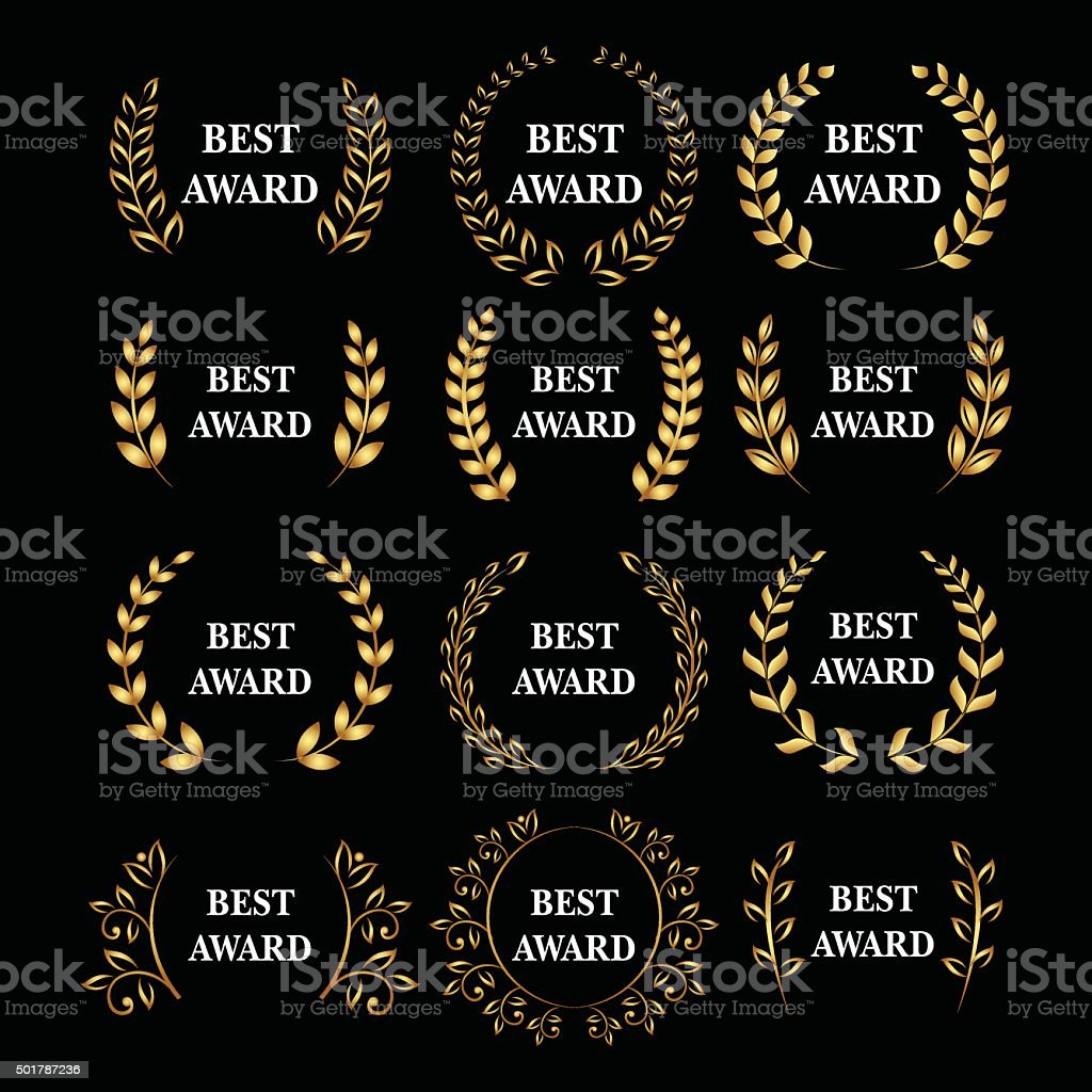 Gold award laurel wreath set, Winner label, leaf symbol victory royalty-free gold award laurel wreath set winner label leaf symbol victory stock illustration - download image now