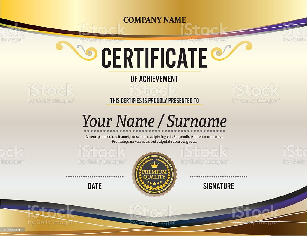Gold Background Certificate Diploma Template Vector ...