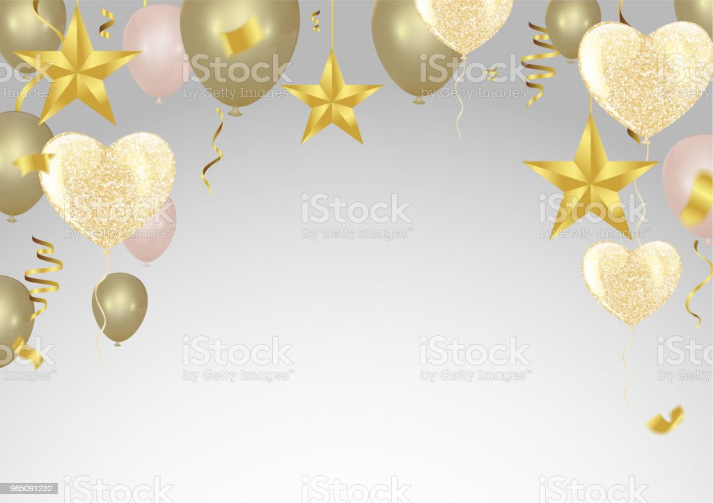 gold background with balloons and heart balloons confetti and