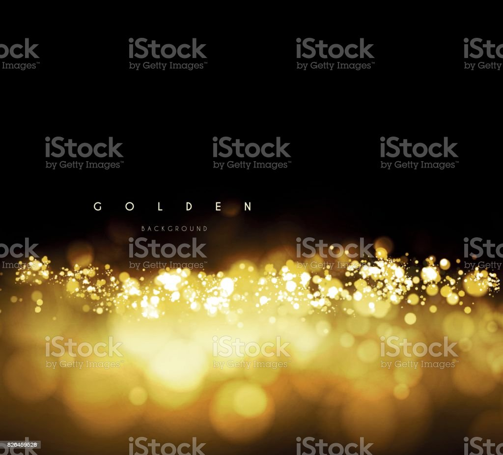 Gold background with bokeh vector art illustration
