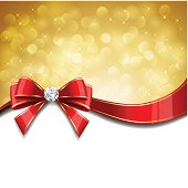 Vector Gold background with red bow. EPS10. Contains transparent effect.
