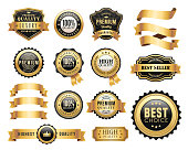 Vector illustration of the gold badges and ribbons set