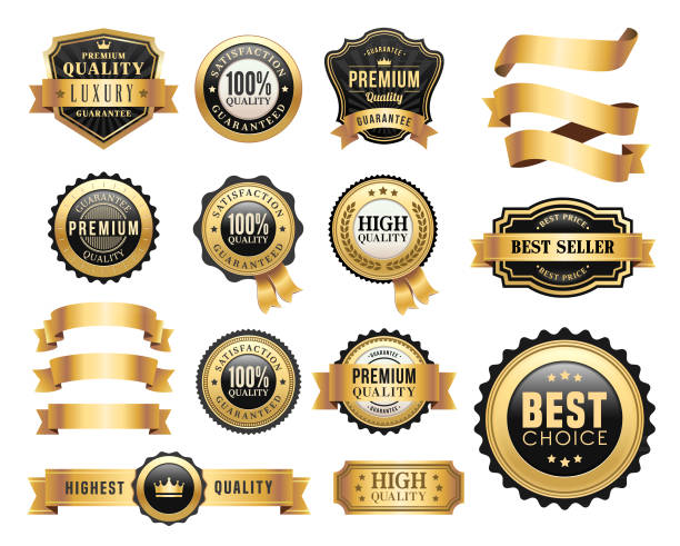 Gold Badges and Ribbons Set Vector illustration of the gold badges and ribbons set first place stock illustrations
