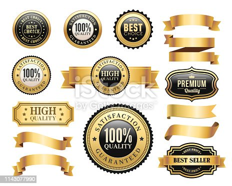 Vector illustration of the gold badges and ribbons set.