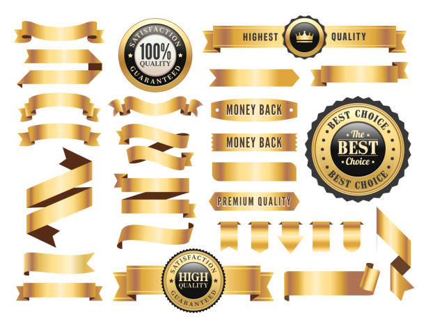 Gold Badges and Ribbons Set Vector illustration of the gold badges and ribbons set. gold colored stock illustrations