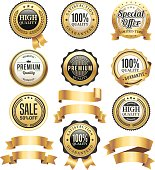 Vector illustration of the gold badges and ribbons.