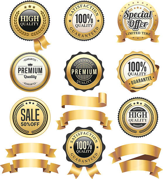gold badges and ribbons set - pieczęć znaczek stock illustrations