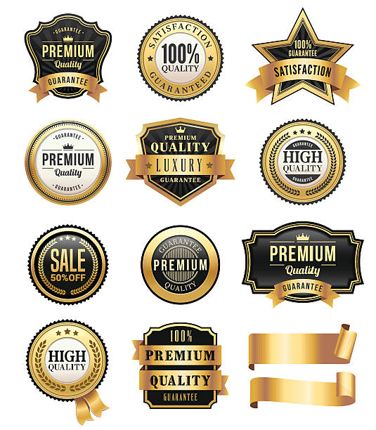 Gold Badges and Ribbons Set​​vectorkunst illustratie