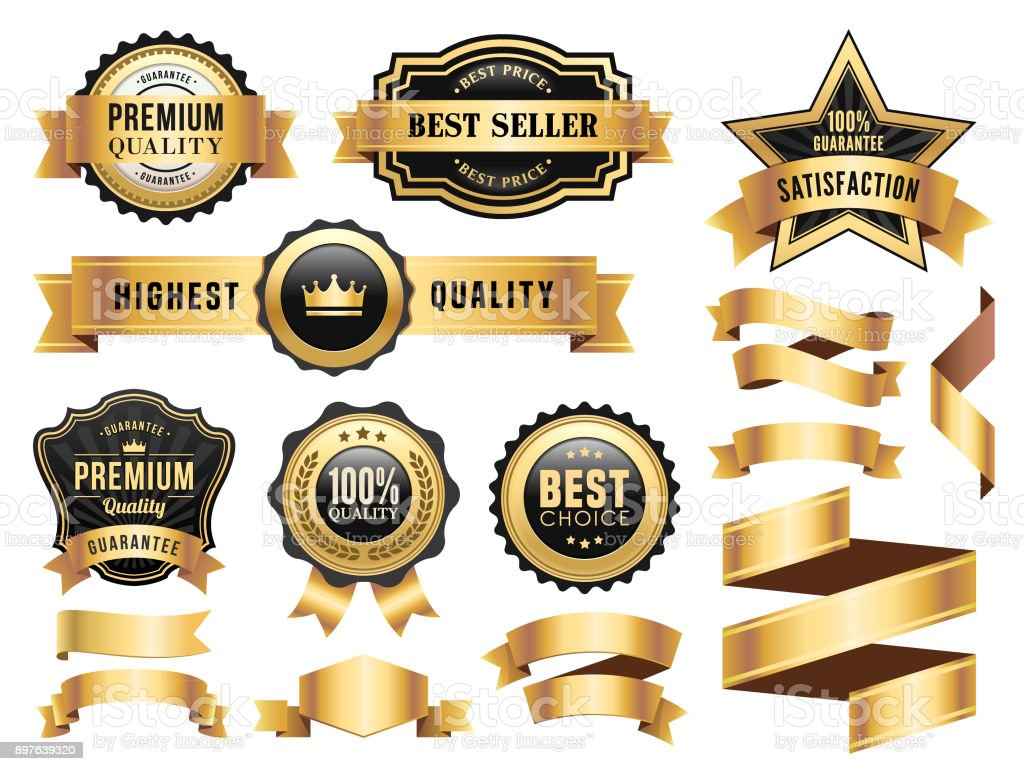 Gold Badges and Ribbons Set vector art illustration