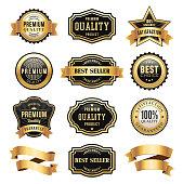Vector illustration of the gold badges set.