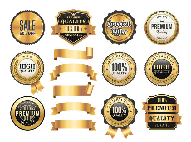 Gold Badges and Ribbons Set vector art illustration