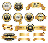 Vector illutration of the gold badges and ribbons.