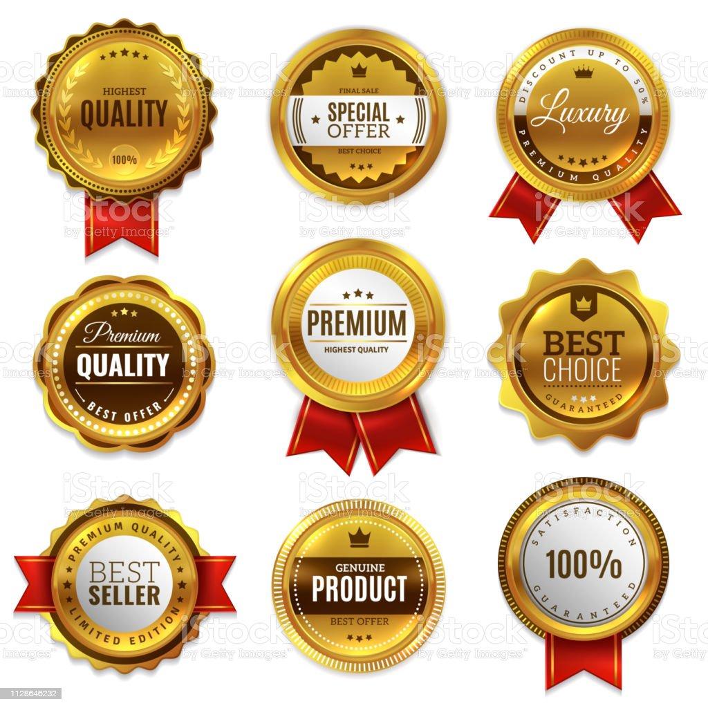 Gold badges seal quality labels. Sale medal badge premium stamp golden genuine emblem guarantee round vector set - Grafika wektorowa royalty-free (Baner)