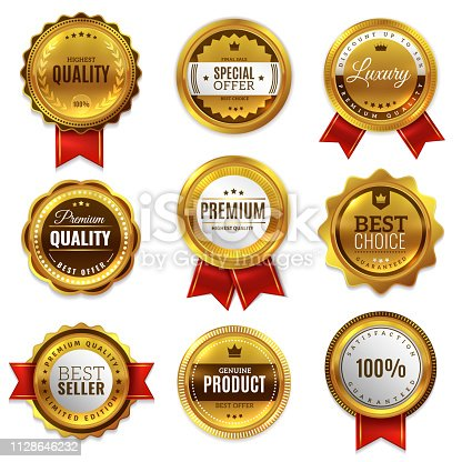Gold badges seal quality labels. Sale medal badge premium stamp golden genuine emblem guarantee round best seal blank vector set