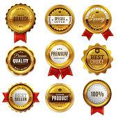 Gold badges seal quality labels. Sale medal badge premium stamp golden genuine emblem guarantee round best seal blank vector set