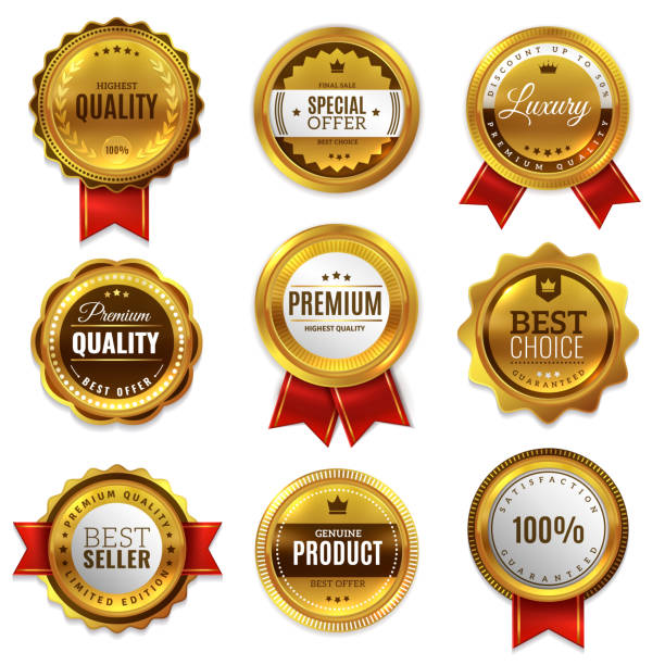 gold badges seal quality labels. sale medal badge premium stamp golden genuine emblem guarantee round vector set - przypinka stock illustrations
