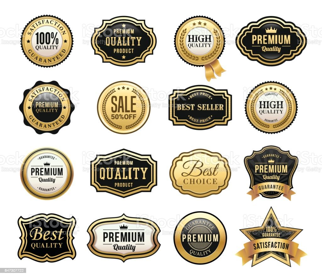 Gold Badges Set vector art illustration