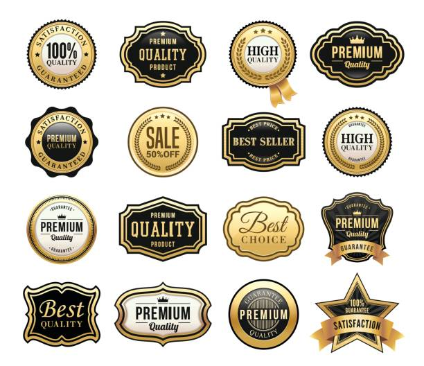 Gouden Badges Set​​vectorkunst illustratie