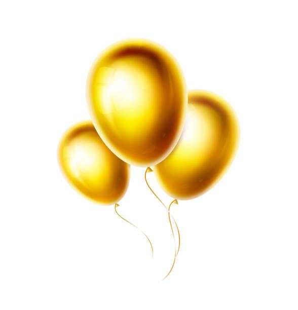 gold ballons bündel und gruppe isoliert auf weißem hintergrund. realistische glänzende und glänzende helium ballon für geburtstag, party, hochzeitsdekoration. goldene farbe vektor objekte illustration. eps10 - clipart goldene hochzeit stock-grafiken, -clipart, -cartoons und -symbole