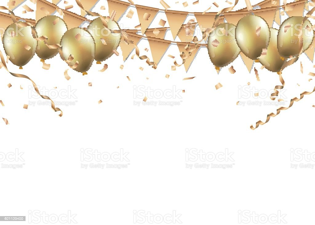 Gold balloons, confetti and streamers on white background - ilustración de arte vectorial