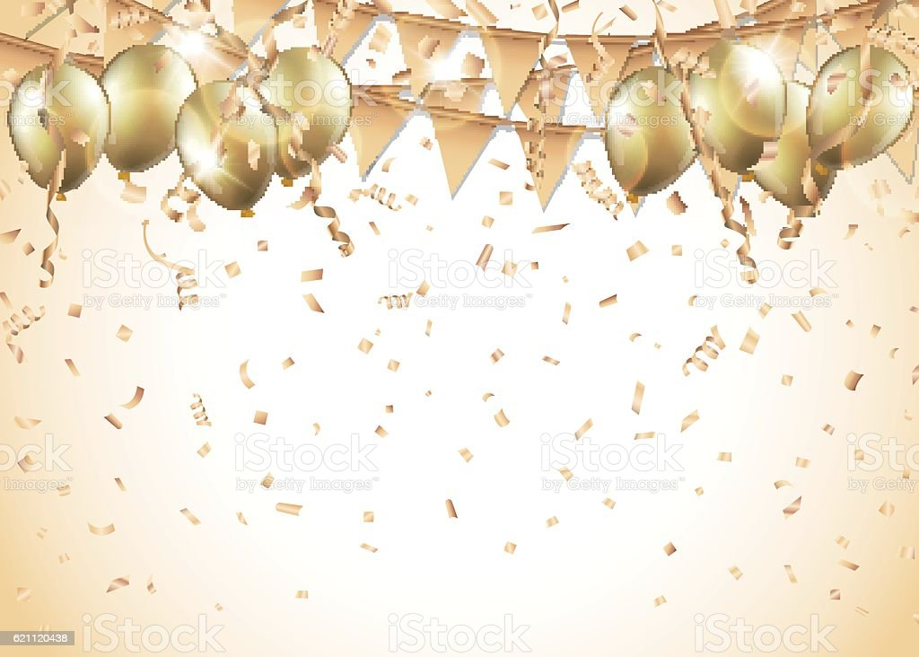Gold Balloons Confetti And Streamers Stock Vector Art