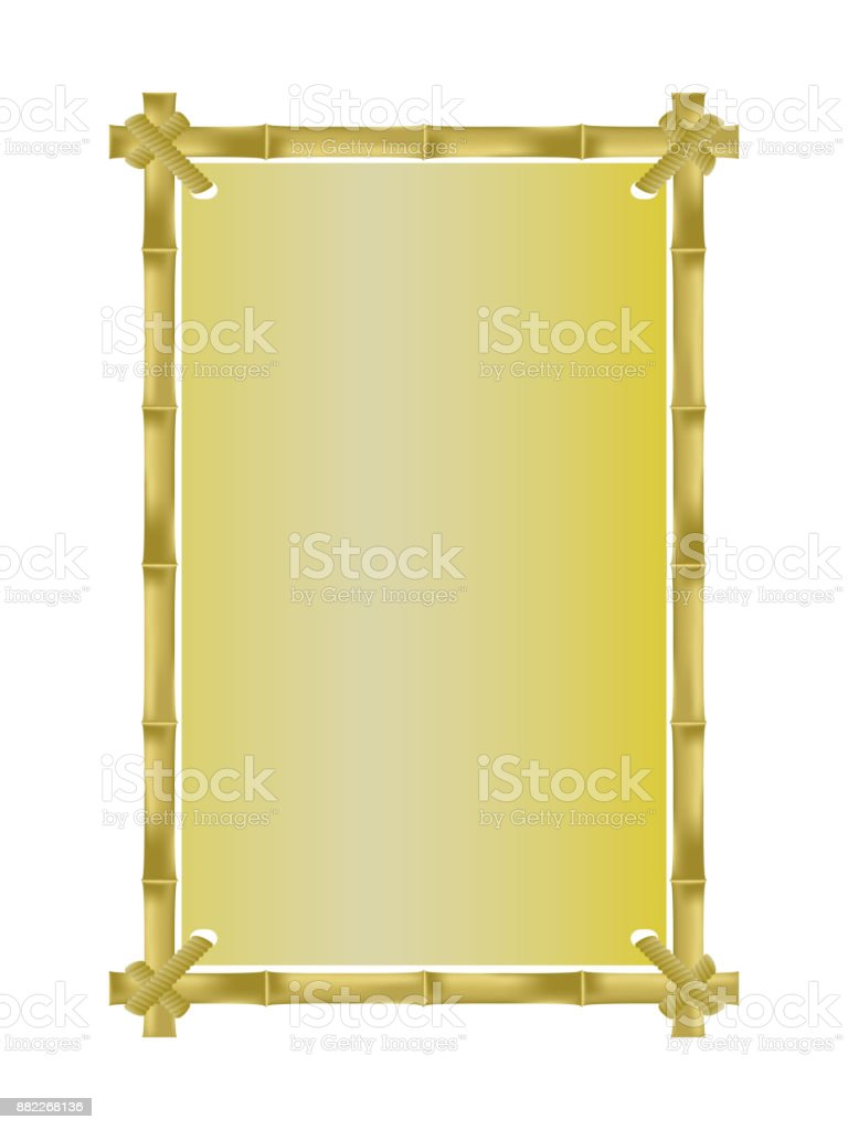 Gold Bamboo Vertical Photo Frame Vector Template Empty Area For Your ...