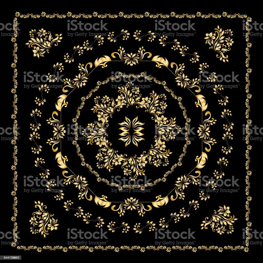 Gold bandana silk scarf. vector art illustration