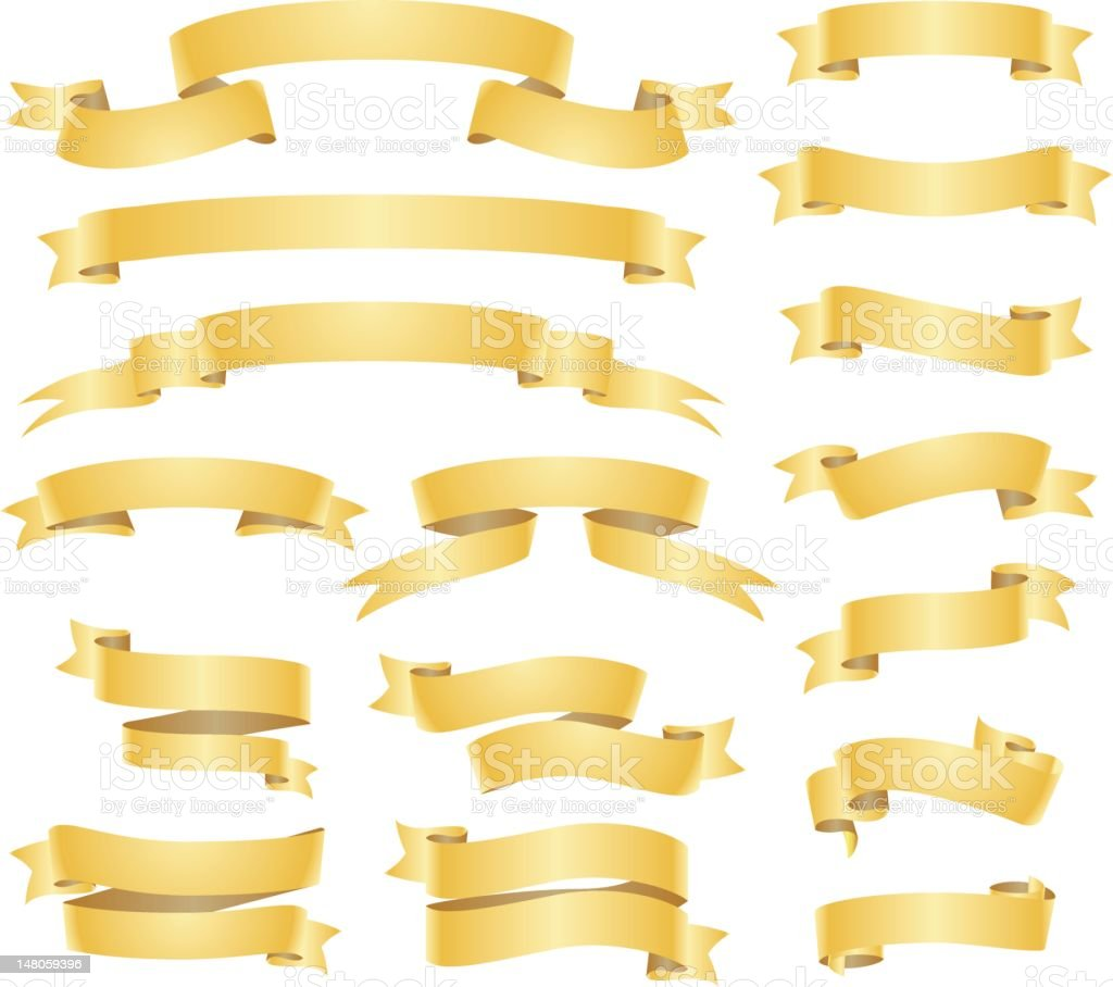 Gold banners and ribbons set vector art illustration