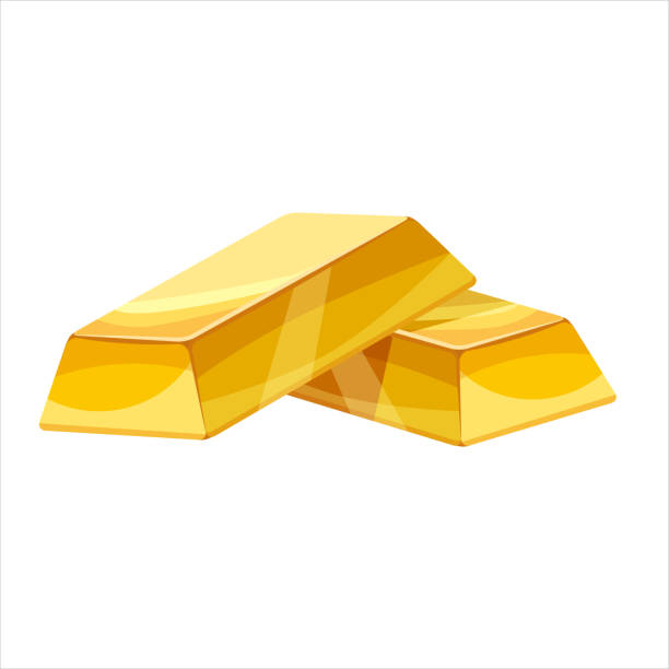 Gold bar icon. Cartoon style, illustration, vector icon for web, games, applications Stack of gold bars icon. Cartoon illustration of stack of gold bars ingot stock illustrations