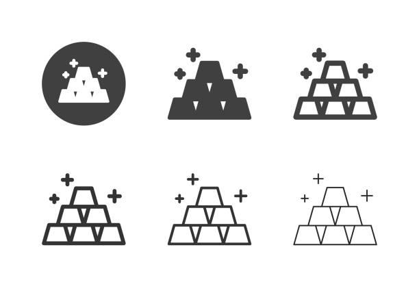 Gold Bar Icons - Multi Series vector art illustration
