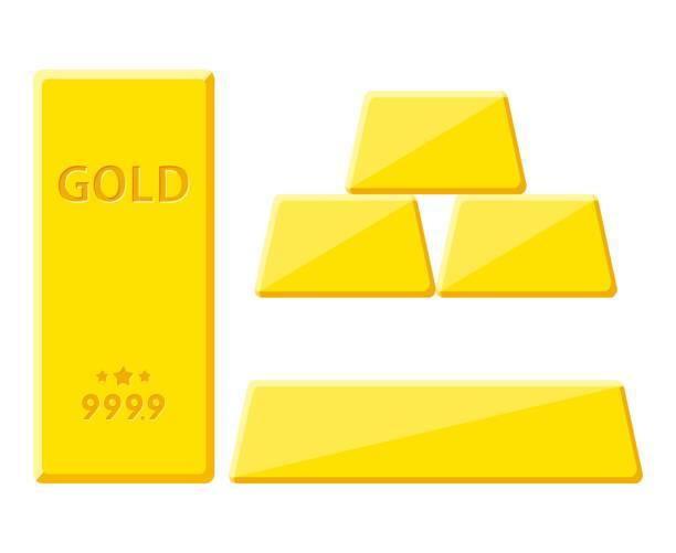 Gold bar isolated on white background. Golden bullion view from different sides Gold bar isolated on white background. Golden bullion view from different sides. Vector illustration ingot stock illustrations