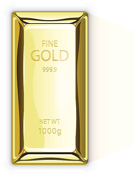 Gold bar Top view of a gold bar. Illustration contain transparencies and is saved as Illustrator 10 format. ingot stock illustrations