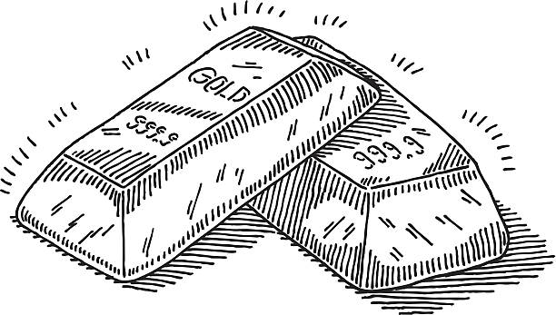 Gold Bars Drawing Hand-drawn vector drawing of a pair of shiny Gold Bars. Black-and-White sketch on a transparent background (.eps-file). Included files: EPS (v8) and Hi-Res JPG. ingot stock illustrations