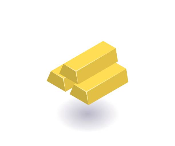 Gold bars icon, vector symbol in flat isometric 3D style isolated on white background. Gold bars icon, vector symbol in flat isometric 3D style isolated on white background. ingot stock illustrations