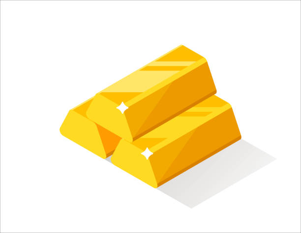 Gold bars or ingot. Flat style isometric illustration. Lot of gold bars. Vector isometric illustration. ingot stock illustrations
