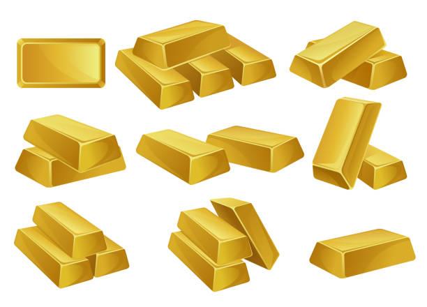 goldbarren stellen, bankgeschäft, wohlstand, schatz siymbols vektor-illustrationen auf weißem hintergrund - flat icons stock-grafiken, -clipart, -cartoons und -symbole