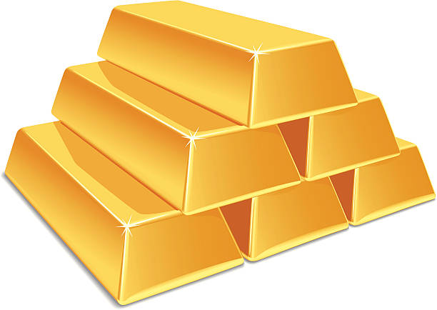 Gold Bars Vector illustration of a gold bar. No gradient mesh. The archive consist of  EPS, PDF and hi-resolution JPG format  ingot stock illustrations