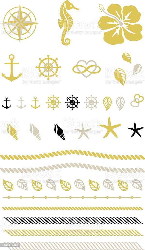 Gold Beach Tattoo, Seil, Ruder, Anker, Seepferdchen – Vektorgrafik